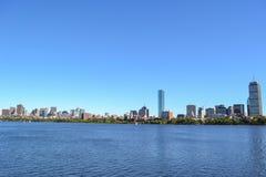 Downtown Boston Massachusetts Skyline on Clear Sunny Day Stock Image