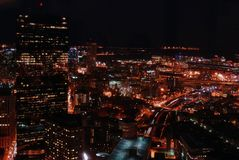 Downtown Boston at Night. Downtown Boston buildings and lights at night Royalty Free Stock Photos