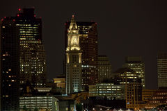 Downtown Boston at night Stock Image
