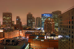 Downtown Boston night scene Royalty Free Stock Images