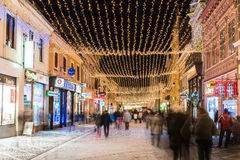 Downtown Brasov City At Night With Christmas Decorations Stock Images