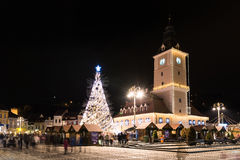 Downtown Brasov City At Night With Christmas Tree Stock Images