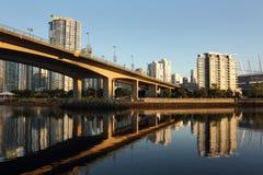 Downtown Bridge Reflection Vancouver Stock Photo