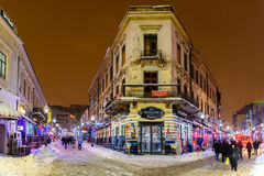 Downtown Bucharest City At Night During Strong Blizzard Snow Storm Stock Photography