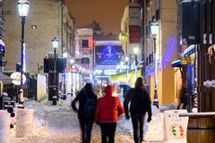 Downtown Bucharest City At Night During Strong Blizzard Snow Storm Stock Photo