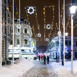 Downtown Bucharest City At Night During Strong Blizzard Snow Storm Stock Image