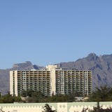 Downtown building shielded by Santa Catalina mountains, Tucson, AZ Royalty Free Stock Images