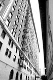 Downtown Buildings. B&W wide angle shot of buildings in Downtown Los Angeles Royalty Free Stock Photography