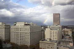 Downtown Buildings Portland, Oregon With Rainbow Royalty Free Stock Photos