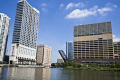Downtown buildings seen from Chicago River Stock Images