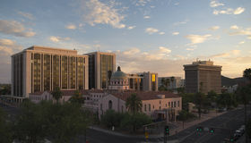Downtown Buildings at Sunset Royalty Free Stock Photography
