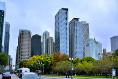 Downtown buildings and traffic, Chicago, Illinois. Chicago city urban street view and traffic. Photo taken in October 5th, 2014 Stock Images