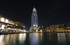 Downtown Burj Khalifa at night Stock Image