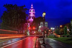 Downtown Cambridge Ohio at Twilight. Downtown Cambridge, Ohio at twilight at the intersection of route 209 and Wheeling avenue, photographed on a rainy evening royalty free stock image