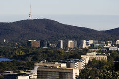 Downtown of Canberra with Telstra Tower Royalty Free Stock Photo