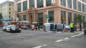 Downtown Car Crash Royalty Free Stock Photography
