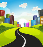 Downtown Cartoon Landscape. Illustration of a cartoon road driving from fields and meadows landscape to downtown in spring or summer season vector illustration