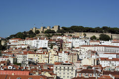 Downtown and Castle of Saint George, Lisbon, Portugal Royalty Free Stock Photo