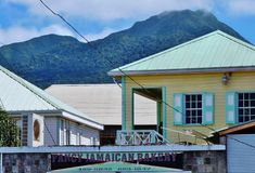 Downtown Charlestown, the capital of Nevis, an island in the Caribbean Stock Image