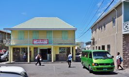 Downtown Charlestown, the capital of Nevis, an island in the Caribbean. CHARLESTOWN, NEVIS -Downtown Charlestown, the capital of Nevis in the Federation of St Stock Image