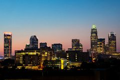 Downtown Charlotte at dusk Stock Photography