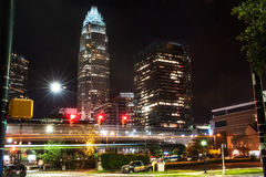 Downtown Charlotte at night in the summer Stock Photography