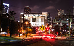 Downtown Charlotte at night in the summer royalty free stock photo