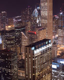 Downtown Chicago. Buildings glow with light at twilight Royalty Free Stock Photography
