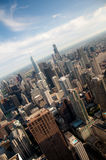 Downtown Chicago. Buildings viewed from above during sundown Stock Photos