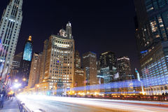 Downtown Chicago. At night time stock photos