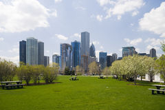 Downtown Chicago. Chicago skyline, view from the shore of Lake Michigan Royalty Free Stock Image