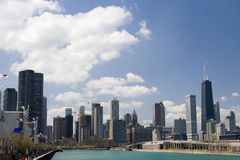 Downtown Chicago. Chicago skyline, view from the shore of Lake Michigan Royalty Free Stock Photos