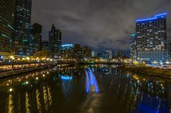 Downtown Chicago. By the River at night Stock Photos