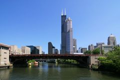Downtown Chicago (3105). Downtown Chicago, Illinois from Chicago River tour royalty free stock photo