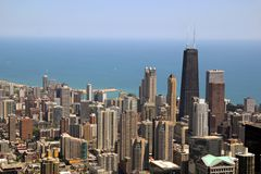 Downtown Chicago. Aerial view of Chicago, Illinois looking north from the Sears Tower royalty free stock photos