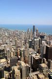 Downtown Chicago. Aerial view of Chicago, Illinois looking north from the Sears Tower stock photo