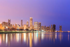 Downtown Chicago across Lake Michigan at sunset, IL Royalty Free Stock Photography