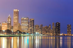 Downtown Chicago across Lake Michigan at sunset,USA Stock Photography