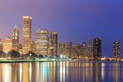 Downtown Chicago across Lake Michigan at sunset,USA Stock Photography
