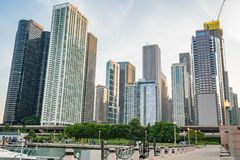 Downtown Chicago along stock image