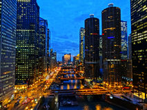 Downtown Chicago. Along Wacker Drive and the Chicago River royalty free stock photo