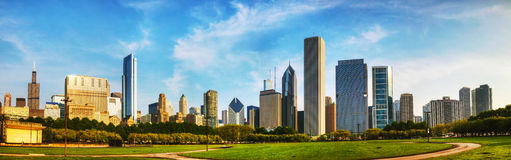 Downtown Chicago as seen from Grant park Royalty Free Stock Images