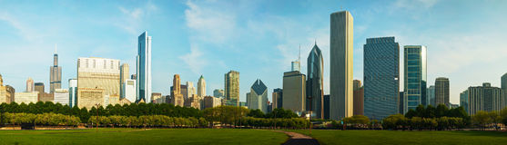 Downtown Chicago as seen from Grant park Stock Photography
