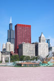 Downtown Chicago and Buckingham Fountain. During the day Royalty Free Stock Photography