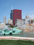 Downtown Chicago and Buckingham Fountain. Buckingham Fountain and Downtown Chicago Stock Photos