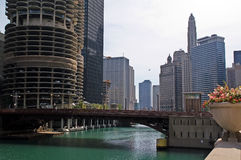 Downtown Chicago, Chicago River Royalty Free Stock Photography