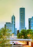 Downtown Chicago, IL in the evening Stock Photography