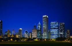 Downtown Chicago, IL in the evening Stock Photos