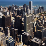 Downtown Chicago - Illinois -  USA. High level view of Downtown Chicago on the shore of Lake Michigan in the state of Illinois in the USA Royalty Free Stock Photography