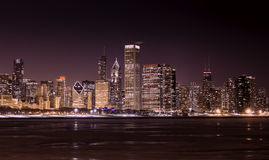 Downtown Chicago - Lake Michigan at night Royalty Free Stock Images